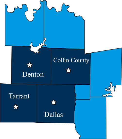 Dallas County, Denton County and Tarrant Count, (in Texas)